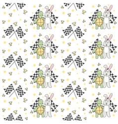 buddy racing turtle and rabbit seamless pattern vector image