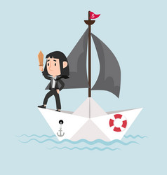 businessman with sword standing on paper boat vector image