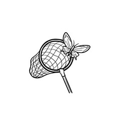 Butterfly net hand drawn sketch icon vector
