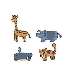 cartoon animal giraffe rhino whale cat tiger vector image