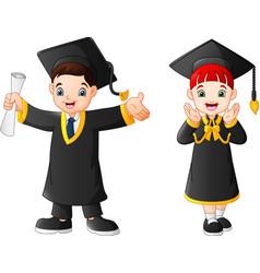 cartoon happy kid in graduation costume vector image