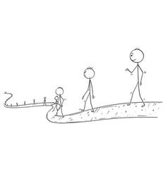 Cartoon of line of people or businessmen walking vector