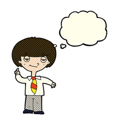 Cartoon school boy answering question with thought vector