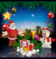 Christmas greeting with panorama of city vector