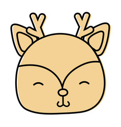 color shy deer head wild animal vector image