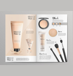 Cosmetics products catalog or brochure template vector
