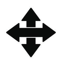 Cross arrows black simple icon vector