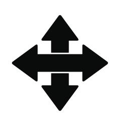 Cross arrows black simple icon vector image