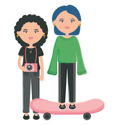 Cute girls in skateboard urban style characters vector