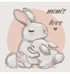 cute hares - mom and kid vector image