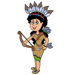 Cute native american indian girl vector