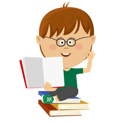 Cute nerd little boy shows open textbook vector
