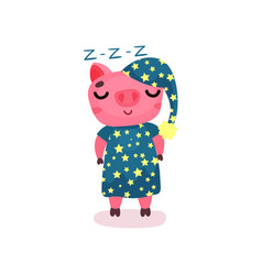 Cute pig character wearing blue pajamas and hat vector