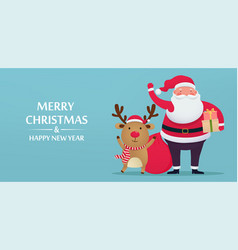 cute santa claus with deer and gifts greeting vector image