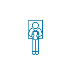 delivering a speech linear icon concept vector image