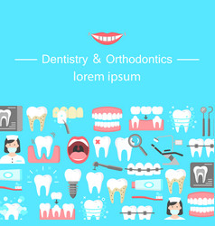 Dentistry and orthodontics flat icons banner vector