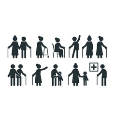 Elderly people symbols old persons stylized vector