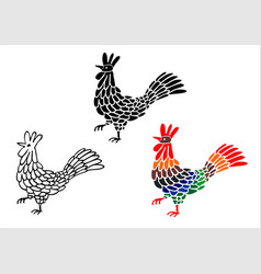 emblem icon drawn rooster set vector image