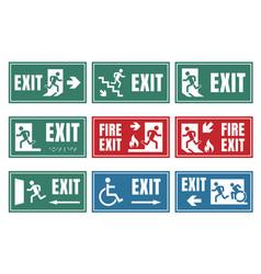 exit door sign set emergency fire exit label vector image