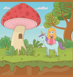 Fairytale landscape scene with fungus and princess vector