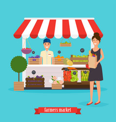 farmers market woman holds paper bag with vector image
