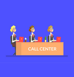 female call center agents working in office vector image