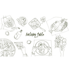 Festive tableful laid table holidays hand drawn vector