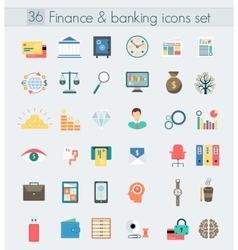 Finance banking modern design flat icons set vector