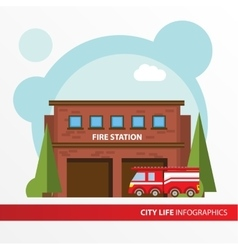 Fire station building and fire engine icon in the vector