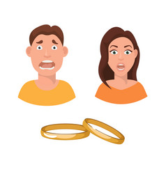 flat marriage fear and vector image