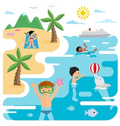 flat of sea and young people at the beach vector image