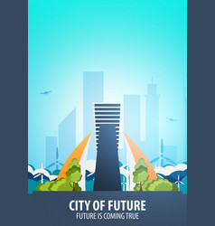 flat style modern city houses building of future vector image