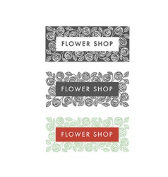 Flower shop florist labels vector