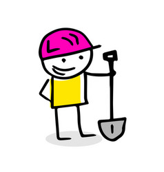 free hand drawing of a construction worker vector image