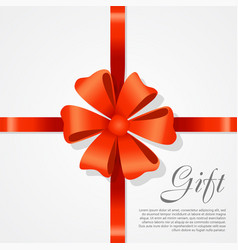 gift red wide ribbon bright bow with two petals vector image