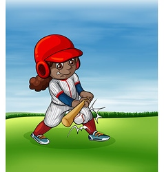 Girl playing baseball outdoor vector image