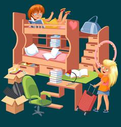 Girls dorm room flat poster dormitory interior vector