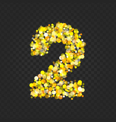 Gold glittering number 2t vector