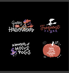 halloween typography lettering set banner design vector image