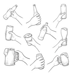 Hands with beer sketch set isolated from vector