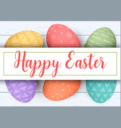 happy easter stripe with text colorful easter vector image