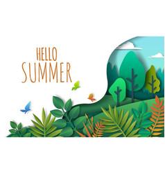 hello summer paper art style vector image