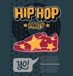 Hip hop poster template design with a sneaker shoe vector