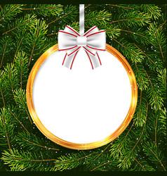 holiday gift card with christmas ball and fir tree vector image