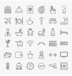 hotel line icons set vector image