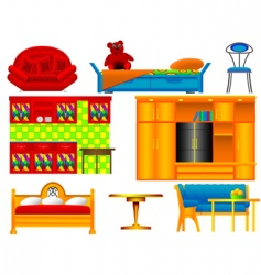 Icons of furniture vector
