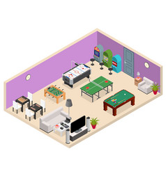 Interior game room isometric view vector