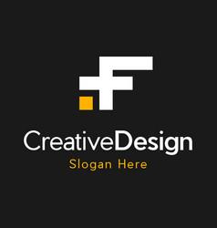 Letter f media pixel creative business logo vector