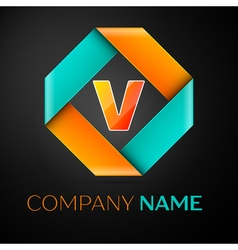 Letter V logo symbol in the colorful rhombus on vector
