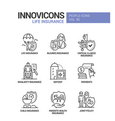 Life insurance - line design style icons vector